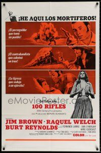 7t015 100 RIFLES Spanish/U.S. export 1sh '69 Jim Brown, Raquel Welch & Burt Reynolds!