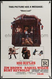 7t016 100 RIFLES style A 1sh '69 Jim Brown, Raquel Welch & Burt Reynolds!