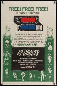 7t020 13 GHOSTS green style 1sh '60 William Castle, great art of all the spooks, Ghost Viewer!
