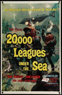 7t026 20,000 LEAGUES UNDER THE SEA style A 1sh R63 Jules Verne classic, art of deep sea divers!