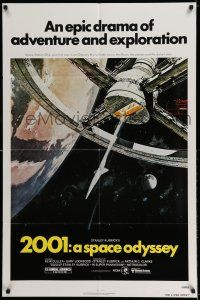 7t028 2001: A SPACE ODYSSEY 1sh R80 Kubrick, space wheel art by Bob McCall!