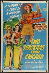 7t025 2 SENORITAS FROM CHICAGO 1sh '43 art of sexy dancers Joan Davis & Jinx Falkenburg!