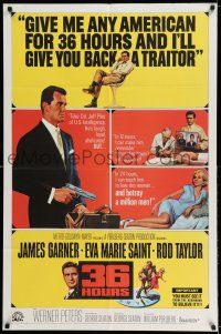 7t031 36 HOURS 1sh '65 James Garner with gun, sexy Eva Marie Saint, Rod Taylor