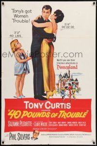 7t032 40 POUNDS OF TROUBLE 1sh '63 Tony Curtis has women trouble, Suzanne Pleshette!