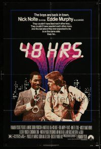 7t034 48 HRS. 1sh '82 Nick Nolte is a cop who hates Eddie Murphy who is a convict!