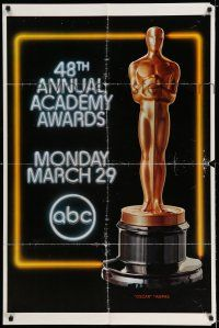7t006 48TH ANNUAL ACADEMY AWARDS 1sh '76 huge image of Oscar statuette, ABC Television!