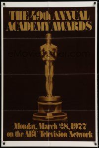 7t007 49TH ANNUAL ACADEMY AWARDS 1sh '77 ABC, great image of Oscar statue!