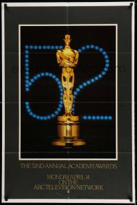 7t009 52ND ANNUAL ACADEMY AWARDS 1sh '80 cool image of Oscar statue!