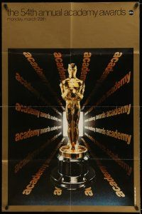7t011 54TH ANNUAL ACADEMY AWARDS 1sh '82 cool image of Oscar statue!