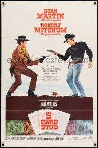 7t035 5 CARD STUD 1sh '68 Dean Martin & Robert Mitchum play poker & point guns at each other!