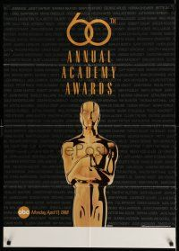 7t012 60TH ANNUAL ACADEMY AWARDS 1sh '88 cool image of Oscar statue!
