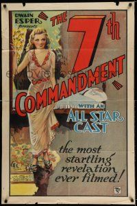 7t036 7th COMMANDMENT 1sh '32 Dwain Esper, stone litho of sexy girl who ruins small town boy!