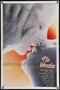 7t037 9 1/2 WEEKS 1sh '86 Mickey Rourke, Kim Basinger, sexiest close up kissing image!