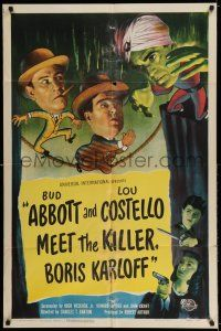 7t038 ABBOTT & COSTELLO MEET THE KILLER BORIS KARLOFF 1sh '49 art of scared Bud & Lou!