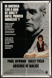 7t044 ABSENCE OF MALICE 1sh '81 Paul Newman, Sally Field, Sydney Pollack, cool design!