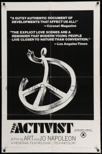 7t048 ACTIVIST 1sh '70 counter-culture documentary rated X for explicit love scenes!