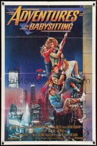 7t050 ADVENTURES IN BABYSITTING 1sh '87 artwork of young Elisabeth Shue by Drew Struzan!