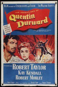 7t052 ADVENTURES OF QUENTIN DURWARD 1sh '55 English hero Robert Taylor & pretty Kay Kendall!