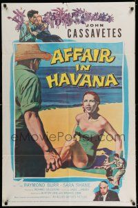 7t053 AFFAIR IN HAVANA 1sh '57 John Cassavetes in Cuba, art of Sara Shane in swimsuit on beach!