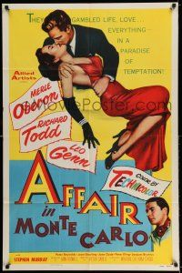 7t054 AFFAIR IN MONTE CARLO 1sh '53 sexy Merle Oberon embraced by Richard Todd!