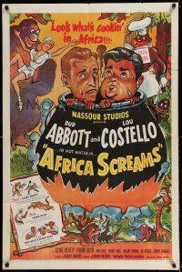 7t056 AFRICA SCREAMS 1sh R53 wacky art of Bud Abbott & Lou Costello and giant gorilla!