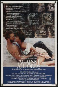 7t058 AGAINST ALL ODDS advance 1sh '84 Jeff Bridges makes out with Rachel Ward on the beach!