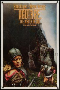 7t059 AGUIRRE, THE WRATH OF GOD 1sh '77 Werner Herzog, art of crazy Klaus Kinski!