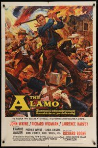 7t062 ALAMO 1sh '60 Brown art of John Wayne & Richard Widmark in Texas Texas War of Independence!