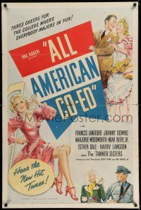 7t067 ALL AMERICAN CO-ED 1sh '41 Frances Langford, Johnny Downs