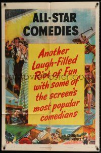 7t075 ALL-STAR COMEDIES 1sh '50 laugh-filled Columbia comedy shorts, cool artwork!