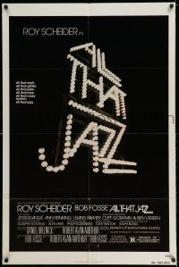 7t069 ALL THAT JAZZ 1sh '79 Roy Scheider, Jessica Lange, Bob Fosse musical!