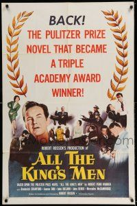 7t070 ALL THE KING'S MEN 1sh R58 Louisiana Governor Huey Long biography with Broderick Crawford!