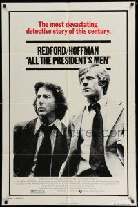 7t072 ALL THE PRESIDENT'S MEN 1sh '76 Dustin Hoffman & Robert Redford as Woodward & Bernstein!