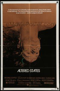 7t077 ALTERED STATES 1sh '80 William Hurt, Paddy Chayefsky, Ken Russell, sci-fi!