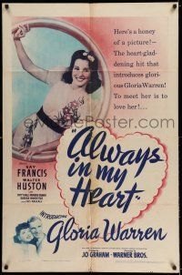 7t078 ALWAYS IN MY HEART 1sh '42 would-be star Gloria Warren featured over Kay Francis & Huston!