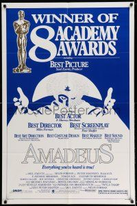 7t080 AMADEUS awards 1sh '84 Milos Foreman, Mozart biography, winner of 8 Academy Awards!