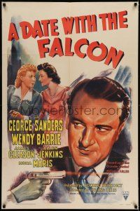 7t002 DATE WITH THE FALCON 1sh '41 art of detective George Sanders & Wendy Barrie + shooting gun!