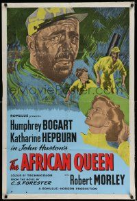 7t057 AFRICAN QUEEN English 1sh R50s colorful montage art of Humphrey Bogart & Katharine Hepburn!