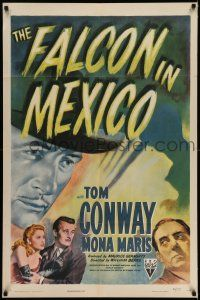7t003 FALCON IN MEXICO 1sh '44 detective Tom Conway, Mona Maris, cool film noir art!