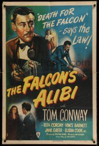 7t004 FALCON'S ALIBI 1sh '46 the law says death for detective Tom Conway, cool montage art!