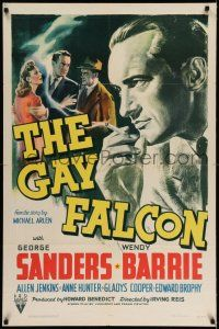 7t001 GAY FALCON 1sh '41 George Sanders, Wendy Barrie & Nina Vale, 1st of the series!