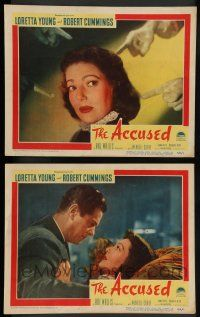 7w959 ACCUSED 2 LCs '49 directed by William Deterle, sexy Loretta Young & Robert Cummings!