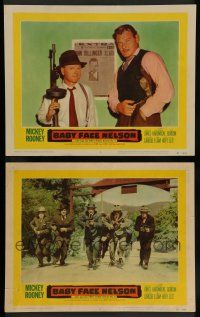 7w961 BABY FACE NELSON 2 LCs '57 Public Enemy No. 1 Mickey Rooney with tommy gun!