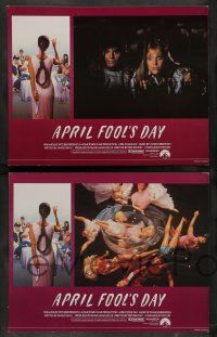 7w049 APRIL FOOLS DAY 8 English LCs '86 director Fred Walton, wacky horror slasher comedy images!