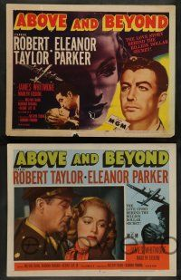 7w019 ABOVE & BEYOND 8 LCs '52 great images of pilot Robert Taylor & sexiest Eleanor Parker!