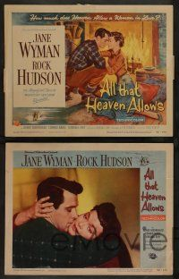 7w036 ALL THAT HEAVEN ALLOWS 8 LCs '55 Rock Hudson & Jane Wyman, directed by Douglas Sirk!