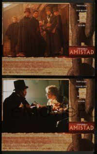 7w042 AMISTAD 8 LCs '97 Steven Spielberg directed, Morgan Freeman, Anthony Hopkins!