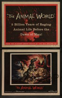 7w043 ANIMAL WORLD 8 LCs '56 Irwin Allen, great special fx image & artwork of dinosaurs!