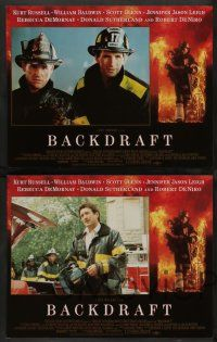 7w063 BACKDRAFT 8 LCs '91 firefighter Kurt Russell, William Baldwin, directed by Ron Howard!