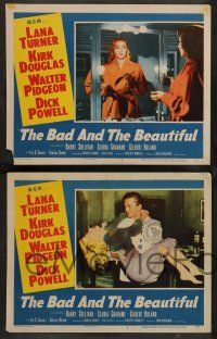 7w895 BAD & THE BEAUTIFUL 4 LCs '53 Kirk Douglas, Lana Turner, Barry Sullivan, Grahame, Purcell!